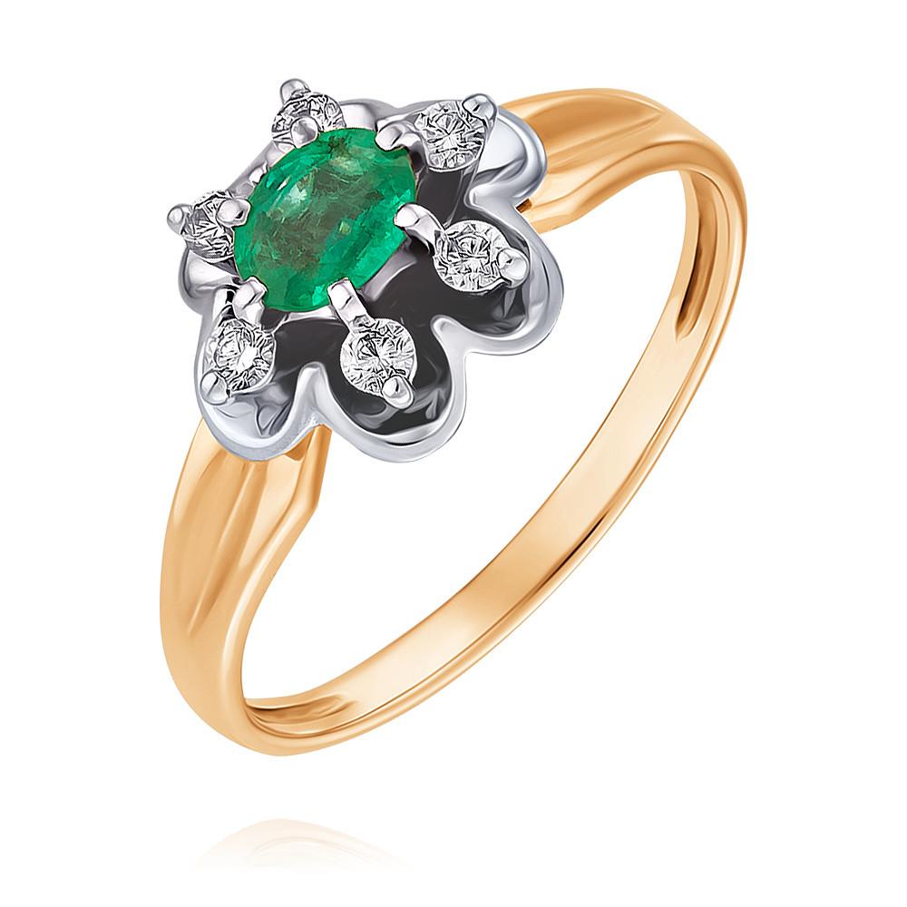 Купить Кольцо из красного золота 585 пробы с бриллиантом, изумрудом, Другие, Красный, Для женщин, 1434251/02-А501Д-433