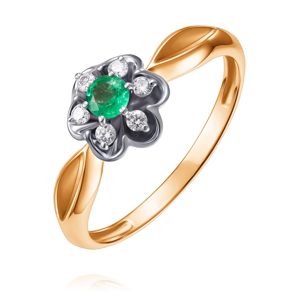 Купить Кольцо из красного золота 585 пробы с бриллиантом, изумрудом, Другие, Красный, Для женщин, 1434493/01-А501Д-433