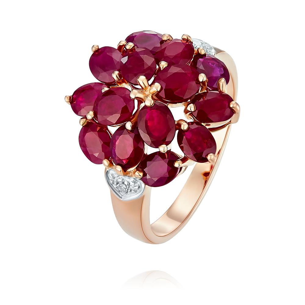 Купить Кольцо из красного золота 585 пробы с бриллиантом, рубином, Другие, Красный, Для женщин, 1438563/01-А50-431