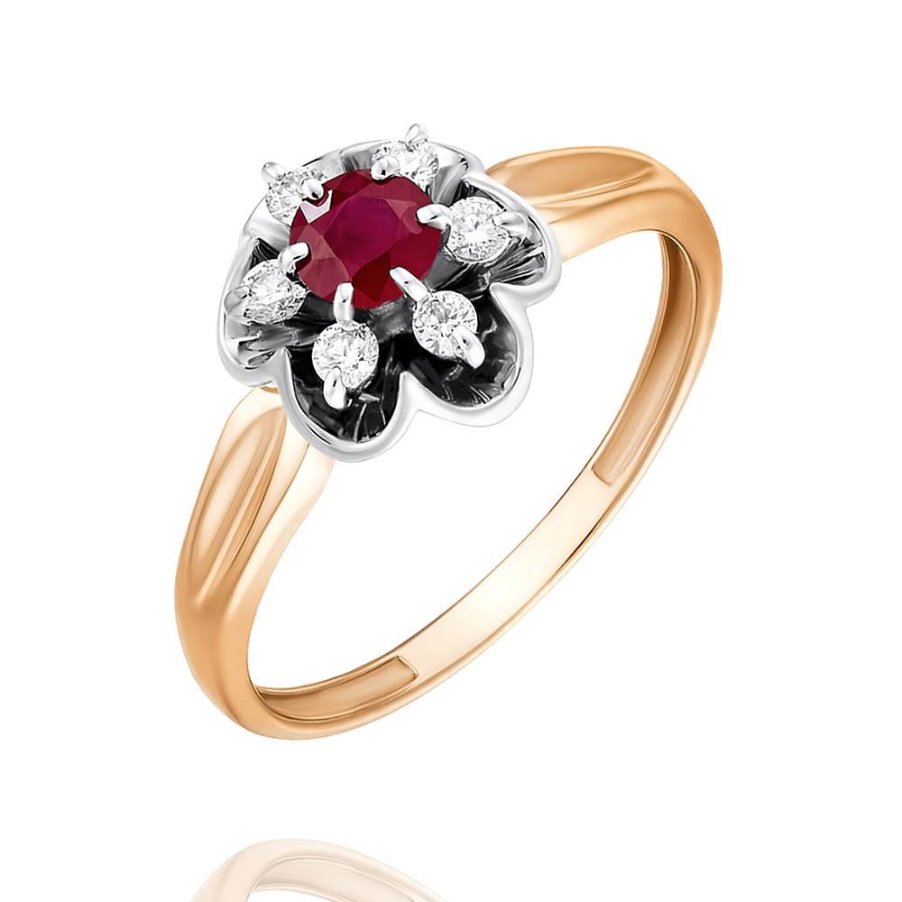 Купить Кольцо из красного золота 585 пробы с бриллиантом, рубином, Другие, Красный, Для женщин, 1438889/01-А501Д-431
