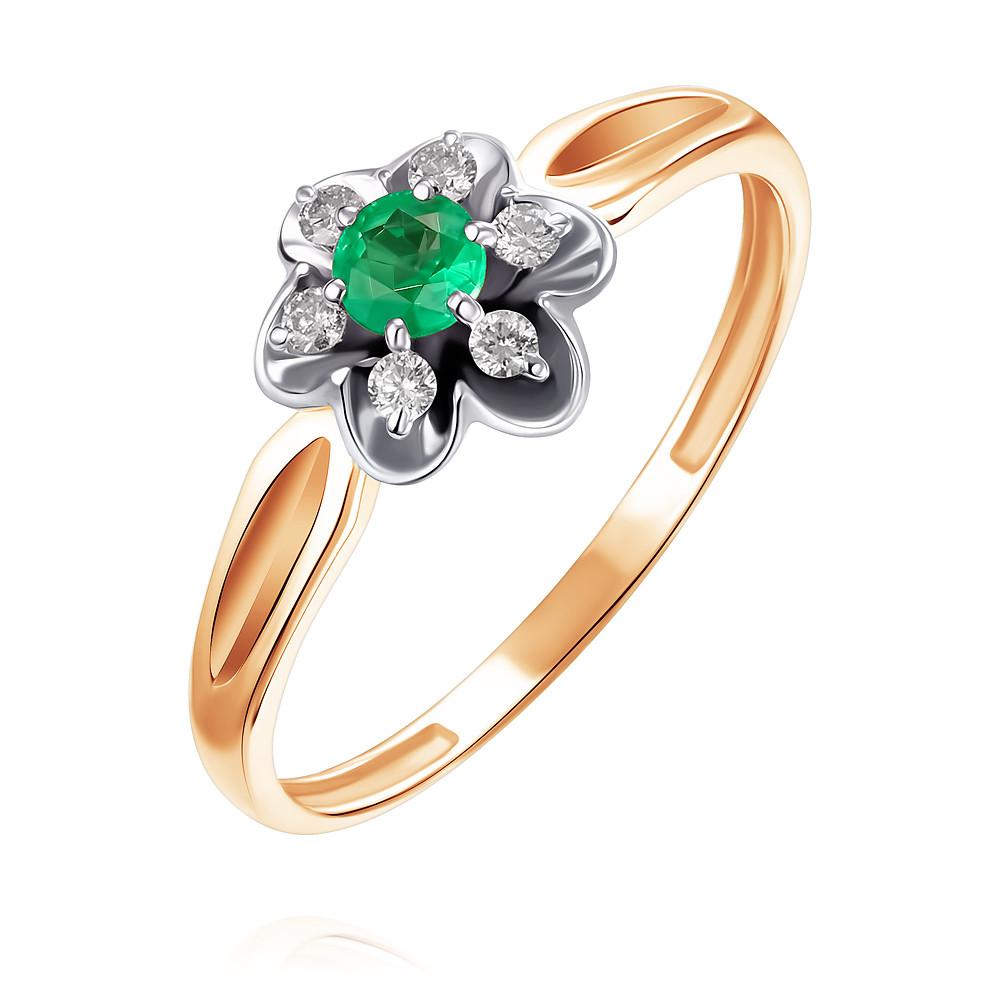 Купить Кольцо из красного золота 585 пробы с бриллиантом, изумрудом, Другие, Красный, Для женщин, 1438889/01-А501Д-433