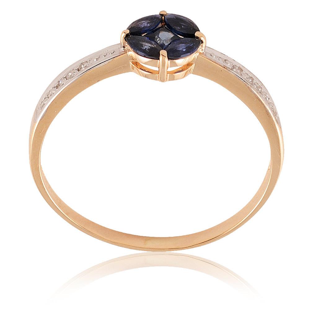 Купить Кольцо из красного золота 585 пробы с бриллиантом, сапфиром, Другие, Красный, Для женщин, 1441239/01-А50Д-432