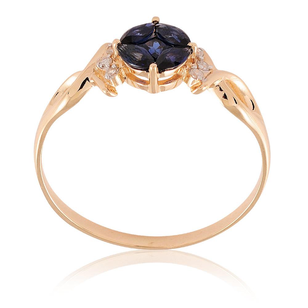 Купить Кольцо из красного золота 585 пробы с бриллиантом, сапфиром, Другие, Красный, Для женщин, 1441249/01-А50Д-432