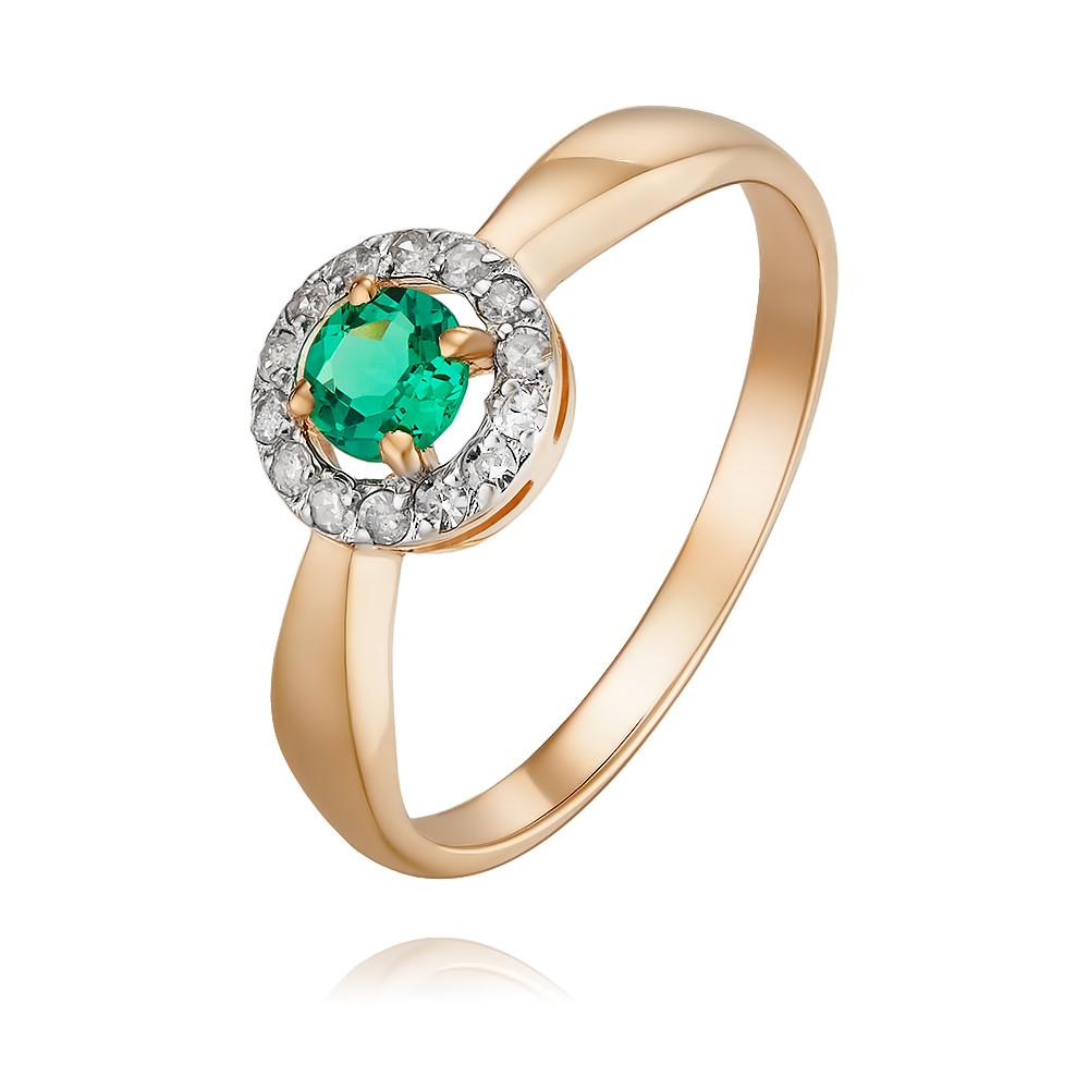 Купить Кольцо из красного золота 585 пробы с бриллиантом, изумрудом, Другие, Красный, Для женщин, 1444624/01-А50-437
