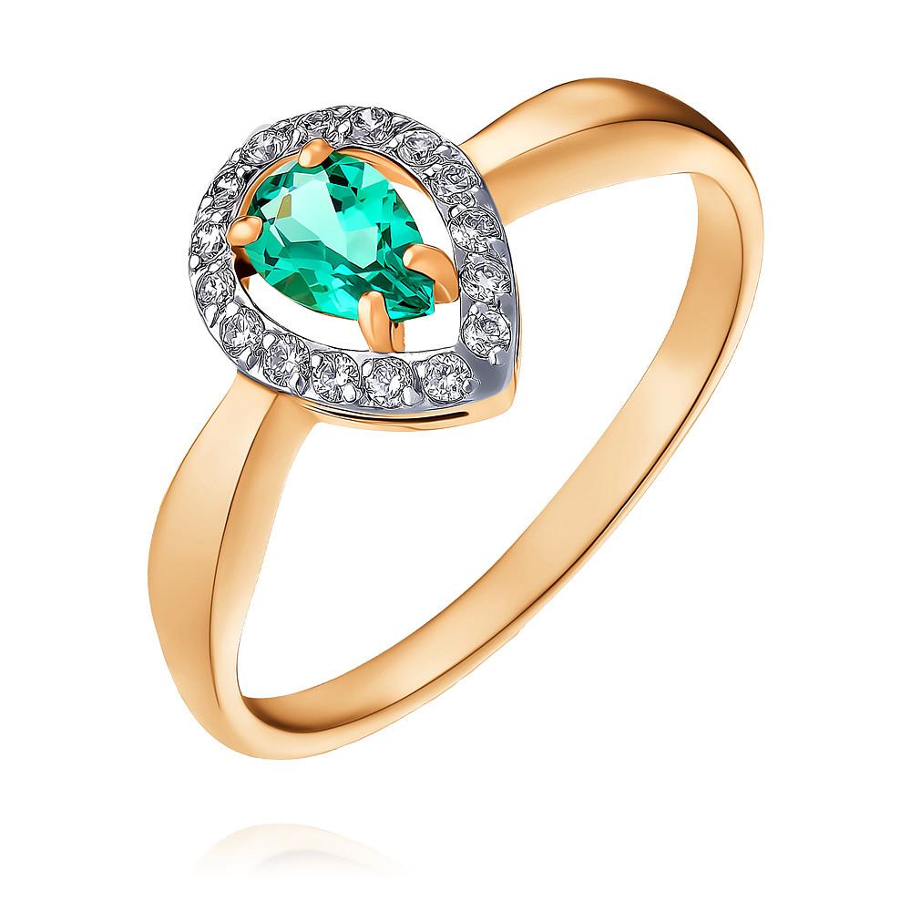 Купить Кольцо из красного золота 585 пробы с бриллиантом, изумрудом, Другие, Красный, Для женщин, 1444625/02-А50-437
