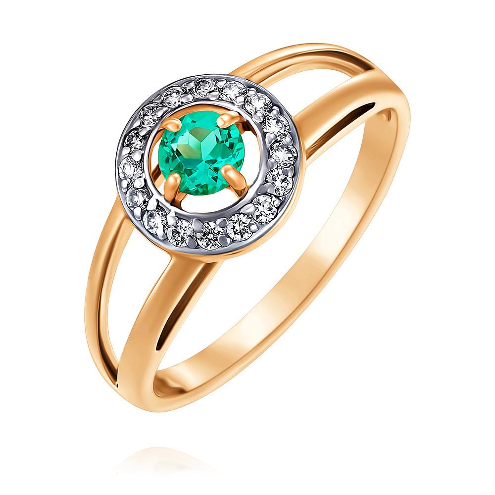 Кольцо из красного золота 585 пробы с бриллиантом, изумрудомКольца<br><br><br>Вставка: Бриллиант, Изумруд ГТ<br>Вес: 2.28 г<br>Артикул: 1444626/01-А50-437<br>Цвет: Красный<br>Металл: Золото<br>Проба: 585<br>Пол: Для женщин
