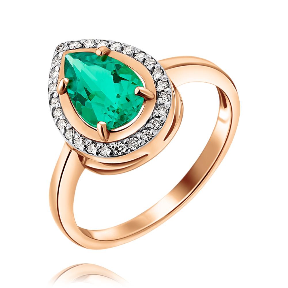 Купить Кольцо из красного золота 585 пробы с бриллиантом, изумрудом, Другие, Красный, Для женщин, 1444631/01-А50-437