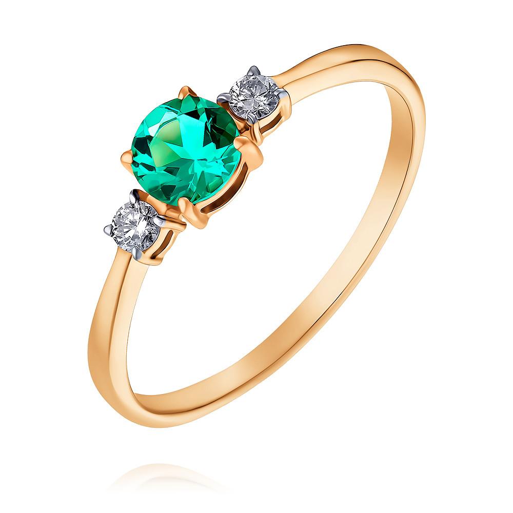 Купить Кольцо из красного золота 585 пробы с бриллиантом, изумрудом, Другие, Красный, Для женщин, 1444634/01-А50-437