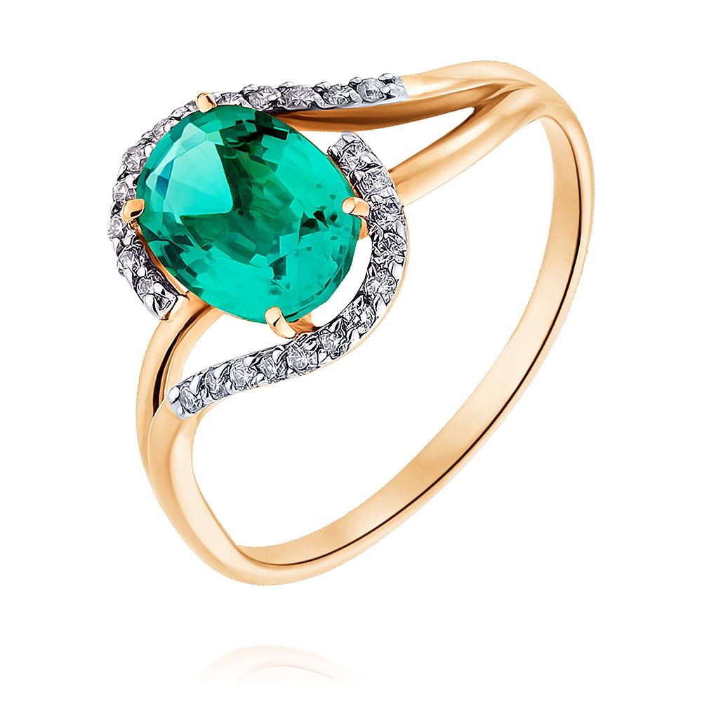 Купить Кольцо из красного золота 585 пробы с бриллиантом, изумрудом, Другие, Красный, Для женщин, 1444635/01-А50-437