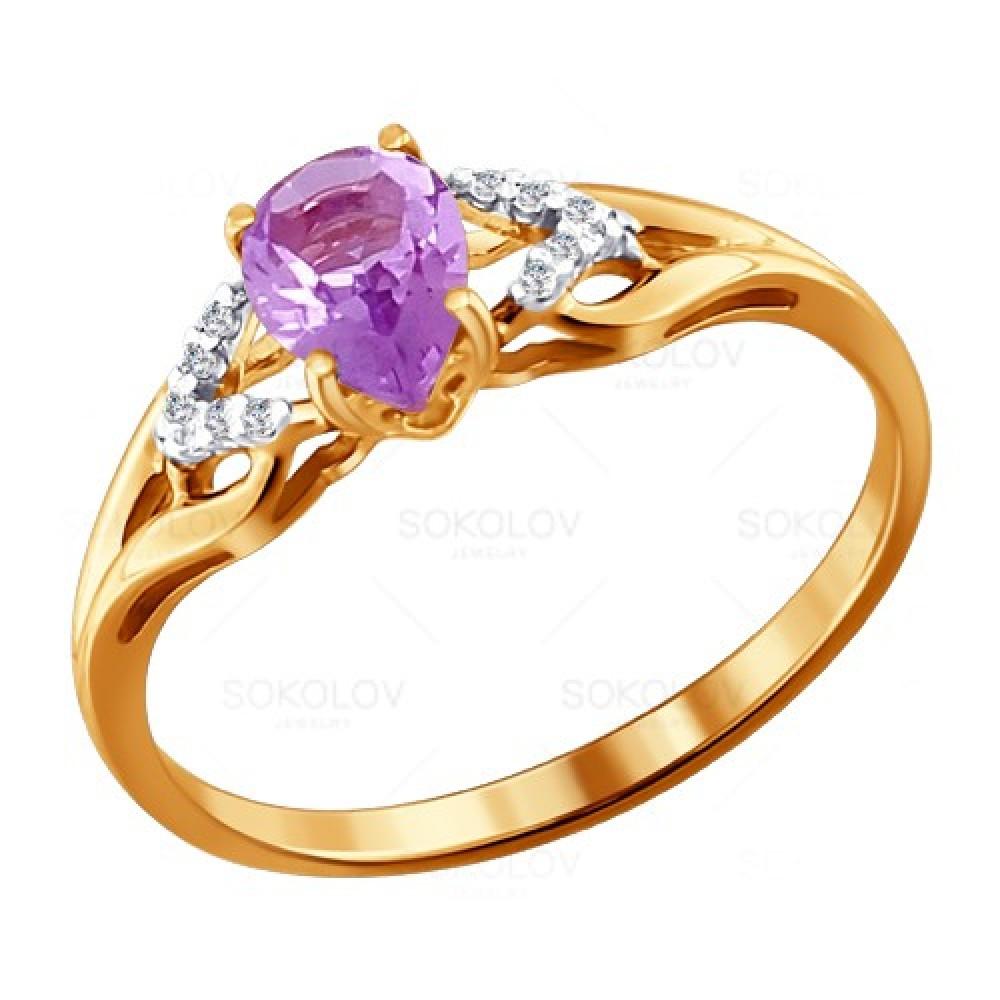 Купить Кольцо из красного золота 585 пробы с аметистом, SOKOLOV, Красный, Для женщин, 1445219/01-А50Д-653