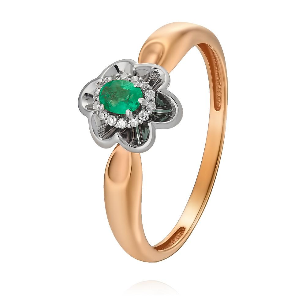 Купить Кольцо из красного золота 585 пробы с бриллиантом, изумрудом, Другие, Красный, Для женщин, 1447828/01-А501Д-433