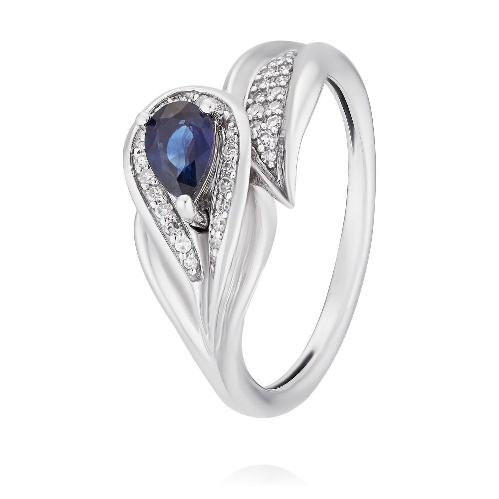 Купить Кольцо из белого золота 585 пробы с бриллиантом, сапфиром, Другие, Белый, Для женщин, 1447927/01-А511Д-432