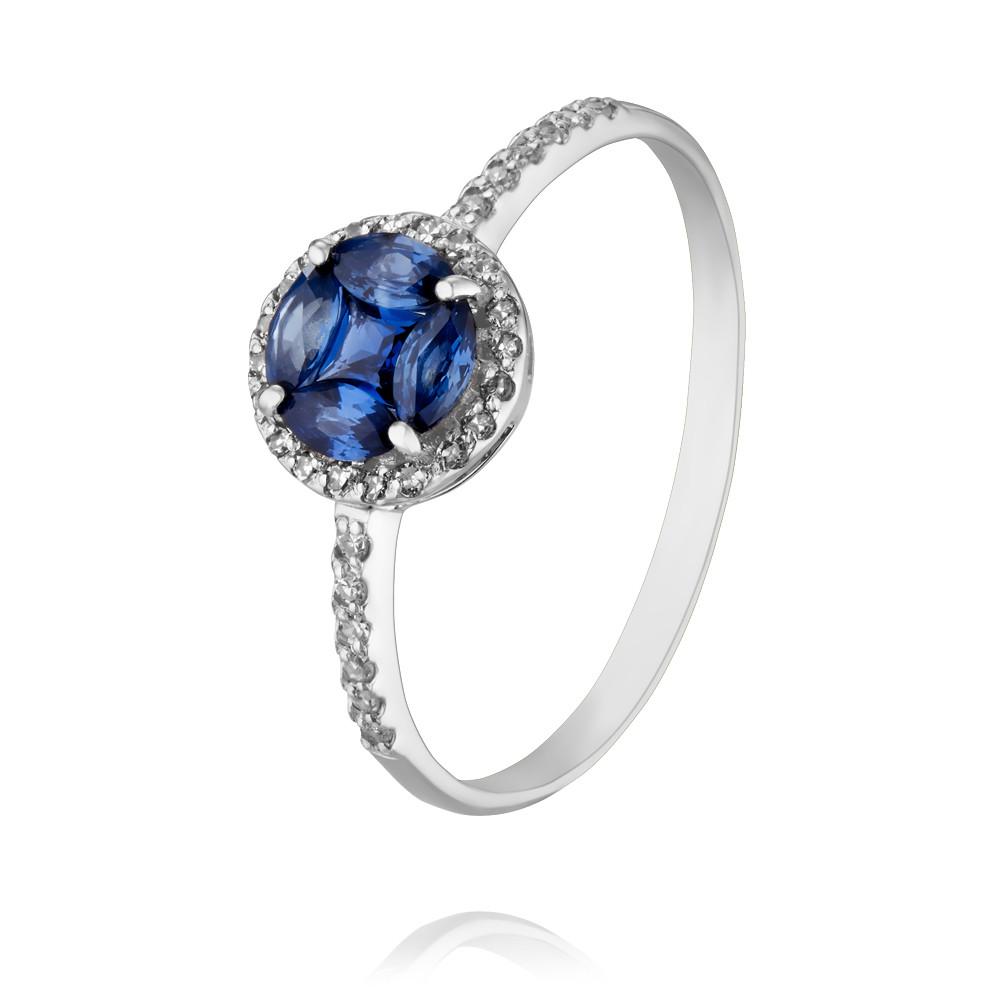 Купить Кольцо из белого золота 585 пробы с бриллиантом, сапфиром, Другие, Белый, Для женщин, 1448727/01-А511Д-432