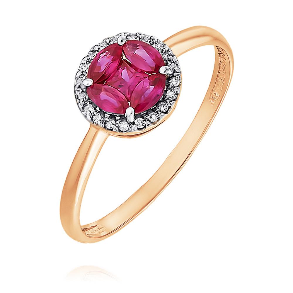 Купить Кольцо из красного золота 585 пробы с бриллиантом, рубином, Другие, Красный, Для женщин, 1448729/01-А50Д-431