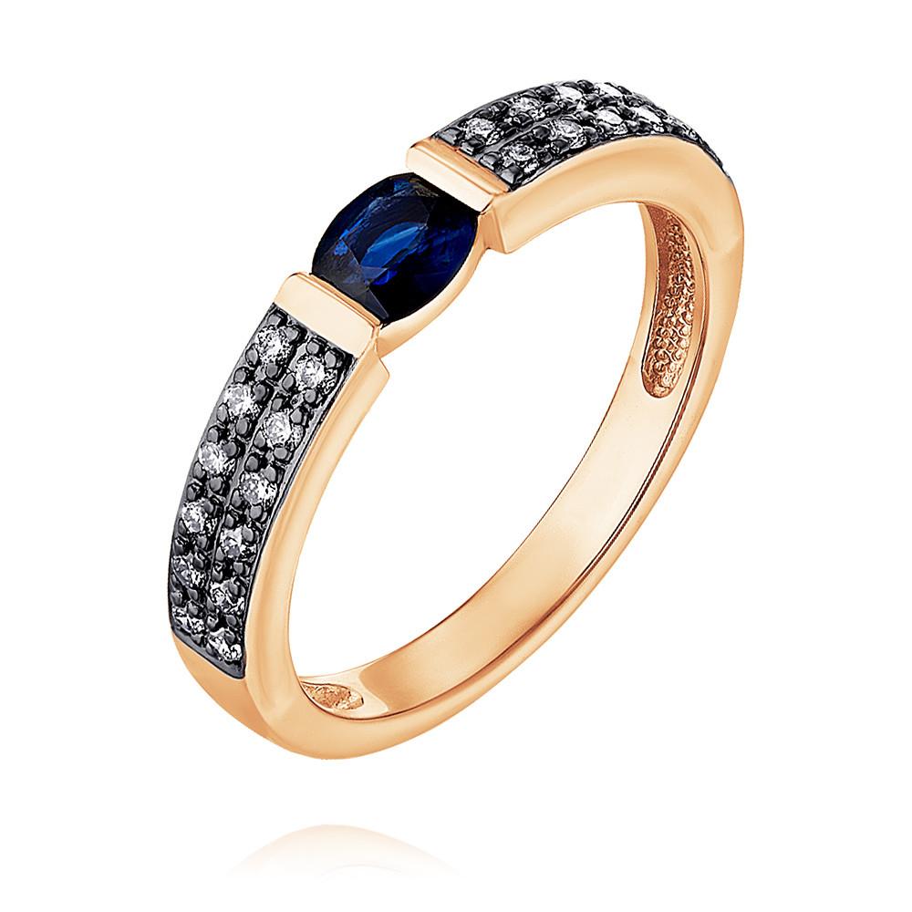 Купить Кольцо из красного золота 585 пробы с бриллиантом, сапфиром, SOKOLOV, Красный, Для женщин, 1448834/01-А50Д-432