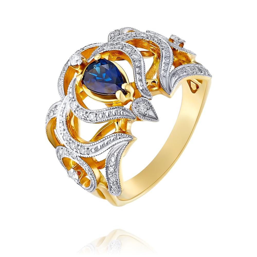 Купить Кольцо из желтого золота 585 пробы с бриллиантом, сапфиром, Другие, Желтый, Для женщин, 1448914/01-А55Д-432
