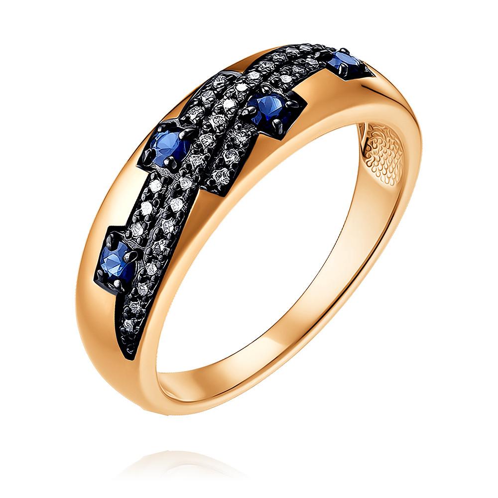 Купить Кольцо из красного золота 585 пробы с бриллиантом, сапфиром, SOKOLOV, Красный, Для женщин, 1450544/01-А50Д-432