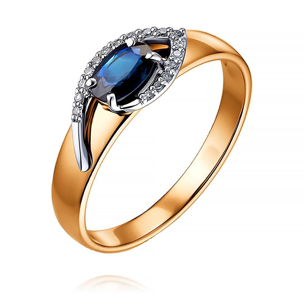 Купить Кольцо из красного золота 585 пробы с бриллиантом, сапфиром, SOKOLOV, Красный, Для женщин, 1450549/01-А50Д-432
