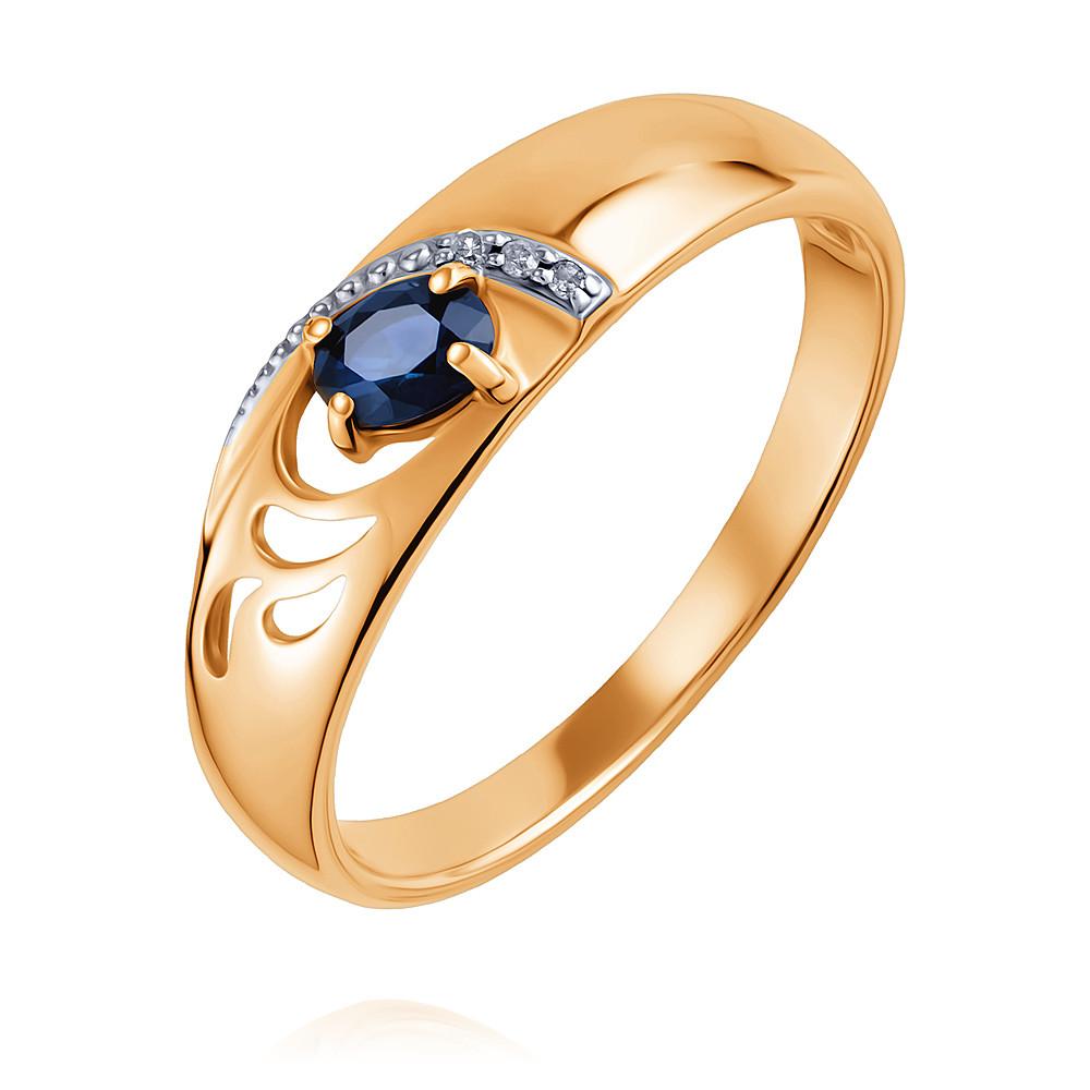 Купить Кольцо из красного золота 585 пробы с бриллиантом, сапфиром, SOKOLOV, Красный, Для женщин, 1450551/01-А50Д-432