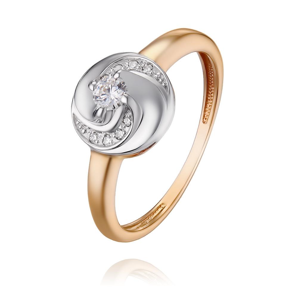 Купить Кольцо из красного золота 585 пробы с бриллиантом, Другие, Красный, Для женщин, 1450806/01-А501Д-41
