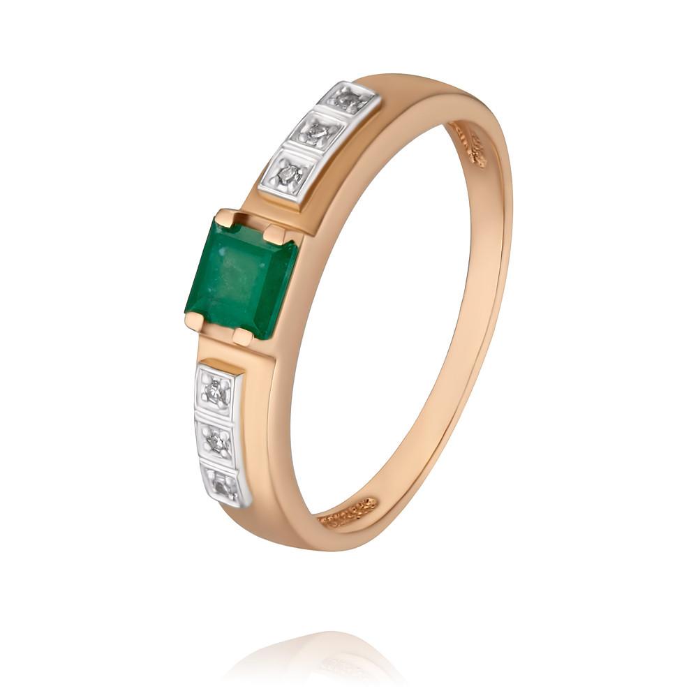 Купить Кольцо из красного золота 585 пробы с бриллиантом, изумрудом, Другие, Красный, Для женщин, 1451064/01-А50Д-433