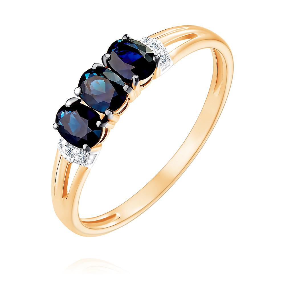 Купить Кольцо из красного золота 585 пробы с бриллиантом, сапфиром, Другие, Красный, Для женщин, 1451123/01-А50Д-432