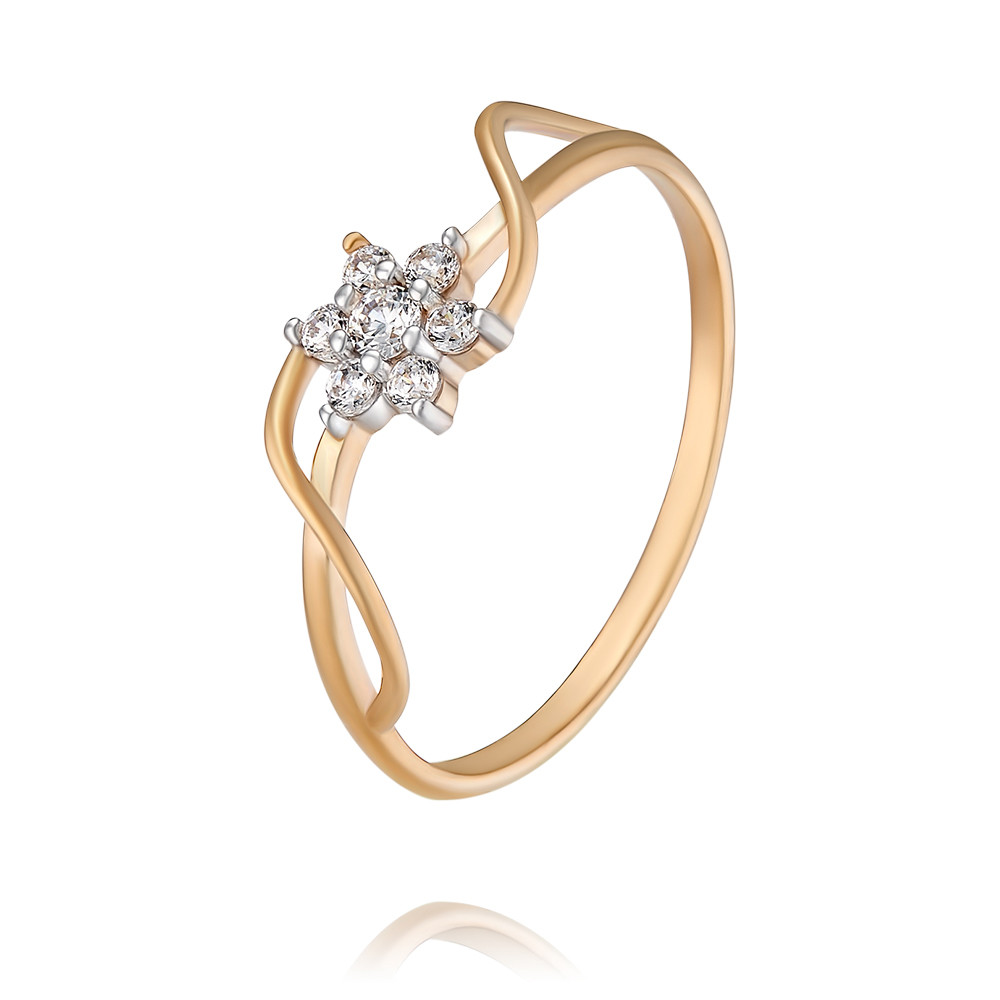 Купить Кольцо из красного золота 585 пробы с фианитом, Другие, Красный, Для женщин, 1451189/01-А50Д-72