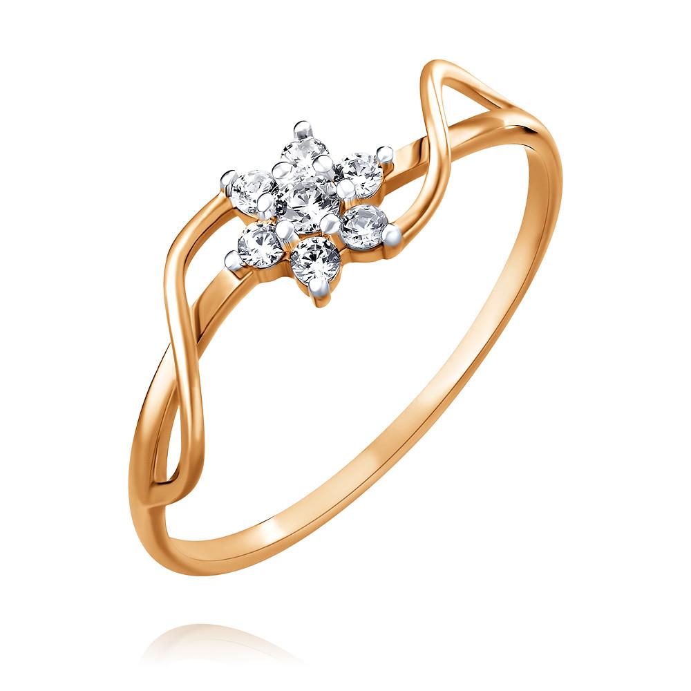 Купить Кольцо из красного золота 585 пробы с фианитом, Другие, Красный, Для женщин, 1451189/02-А50Д-72