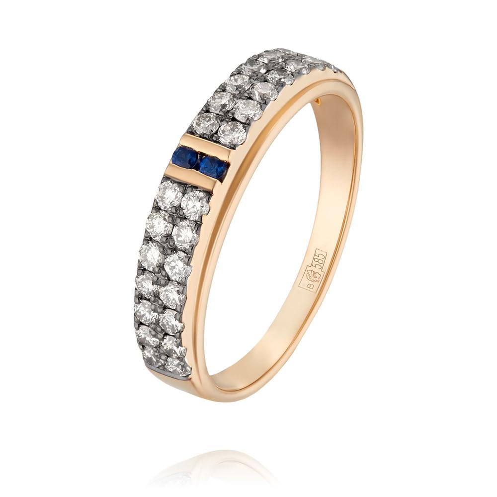 Купить Кольцо из красного золота 585 пробы с бриллиантом, сапфиром, SOKOLOV, Красный, Для женщин, 1451277/01-А50Д-432