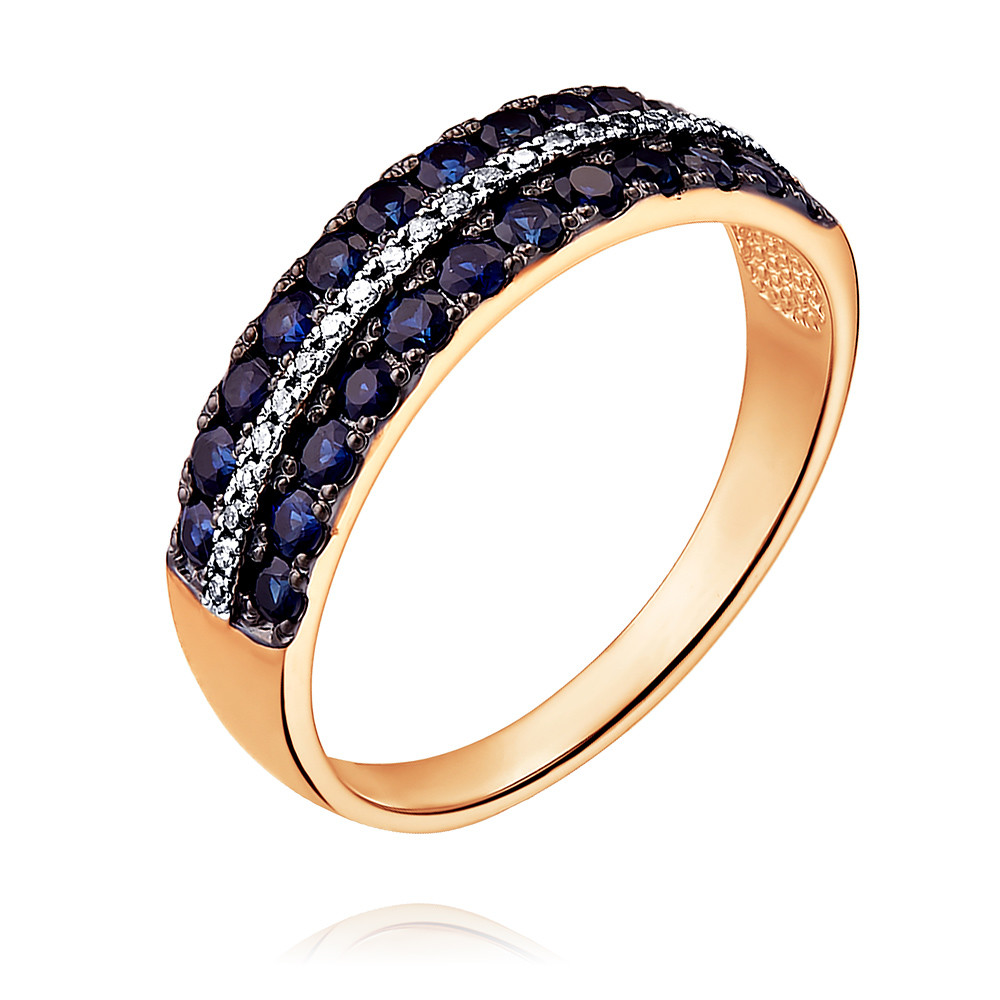 Купить Кольцо из красного золота 585 пробы с бриллиантом, сапфиром, SOKOLOV, Красный, Для женщин, 1451279/01-А50Д-432