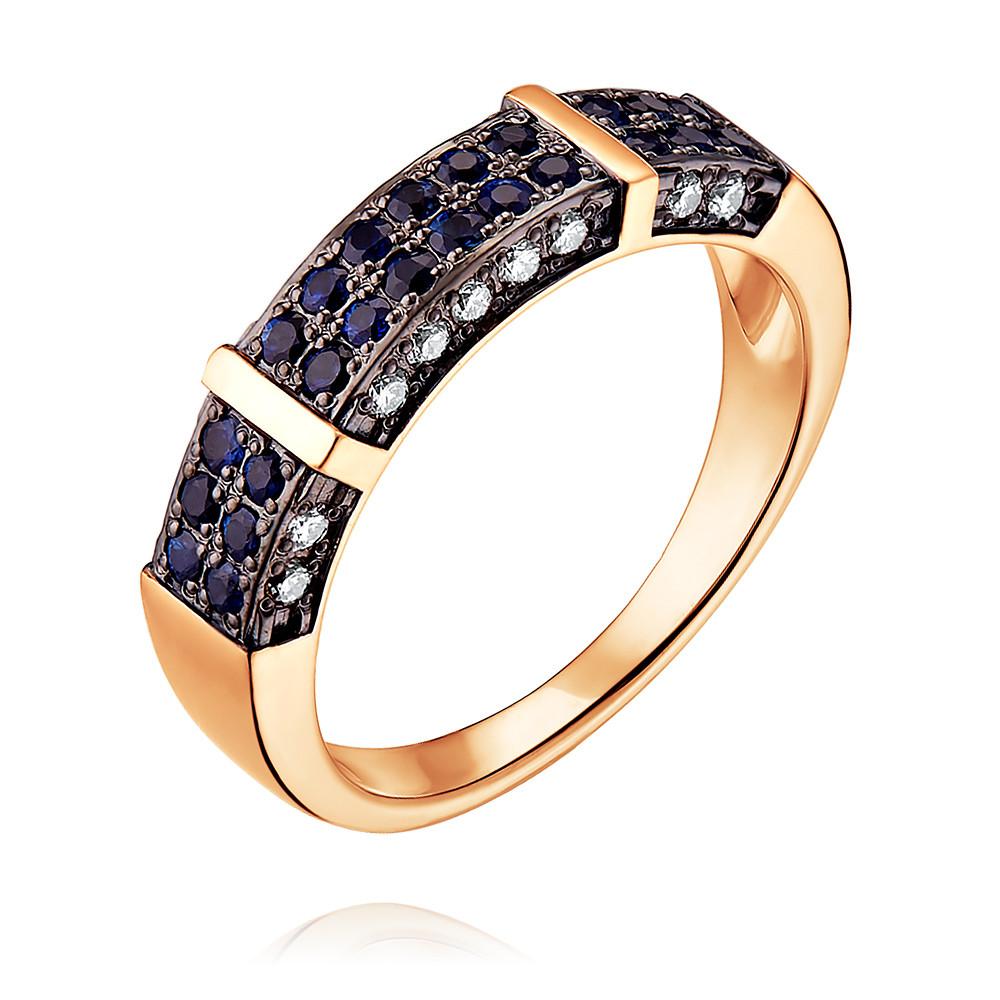 Купить Кольцо из красного золота 585 пробы с бриллиантом, сапфиром, SOKOLOV, Красный, Для женщин, 1451280/01-А50Д-432