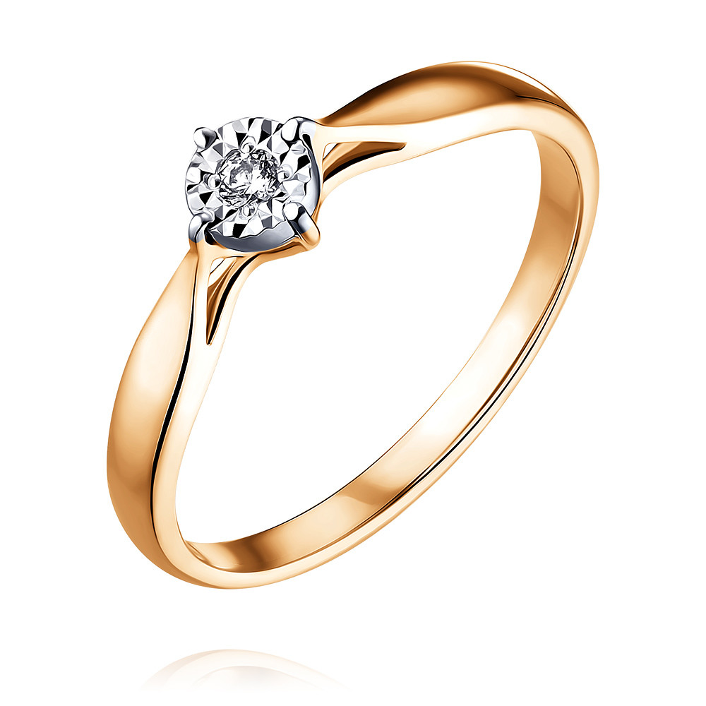 Купить Кольцо из красного золота 585 пробы с бриллиантом, SOKOLOV, Красный, Для женщин, 1451322/01-А507Д-41