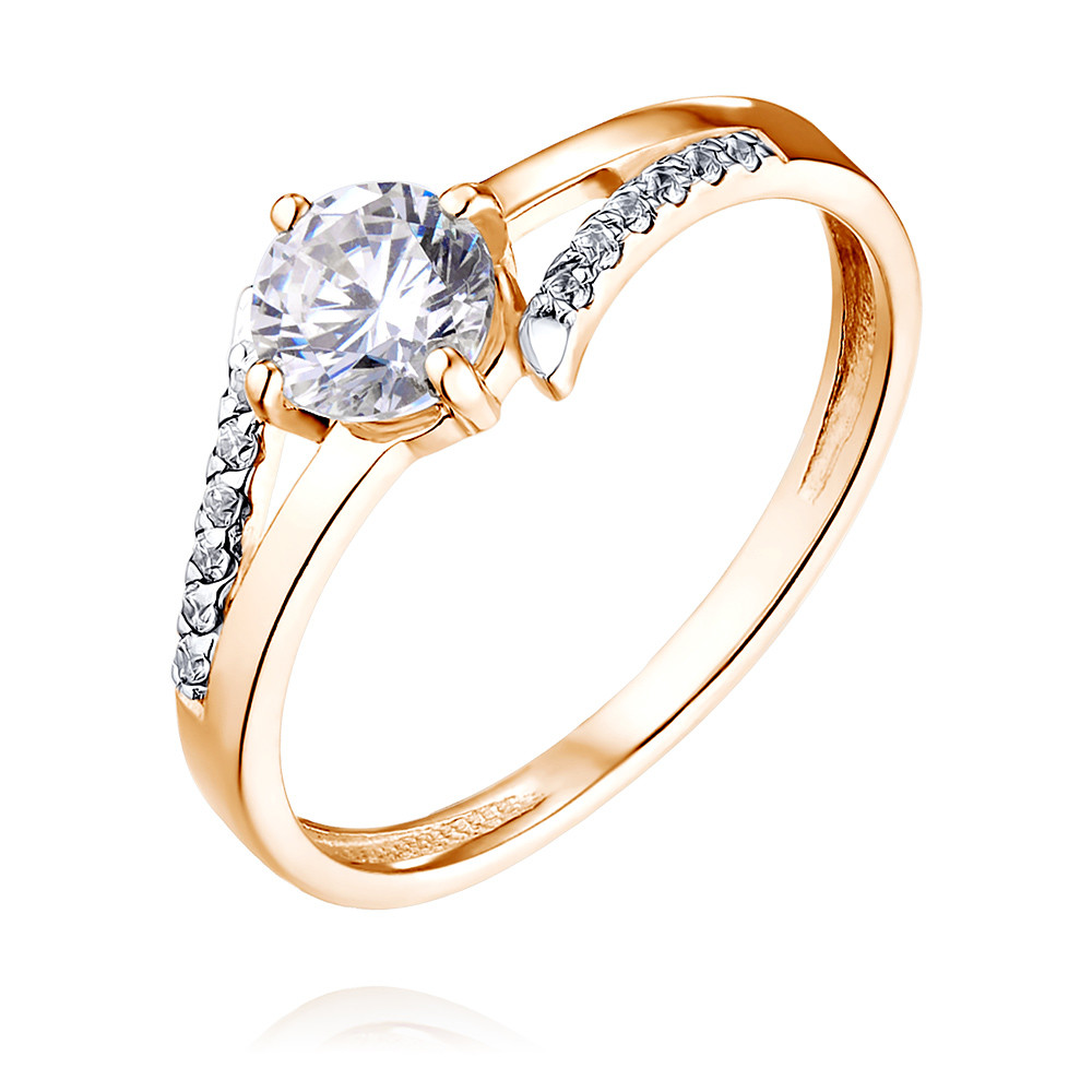 Купить Кольцо из красного золота 585 пробы с фианитом, Другие, Красный, Для женщин, 1451741/01-А50Д-72