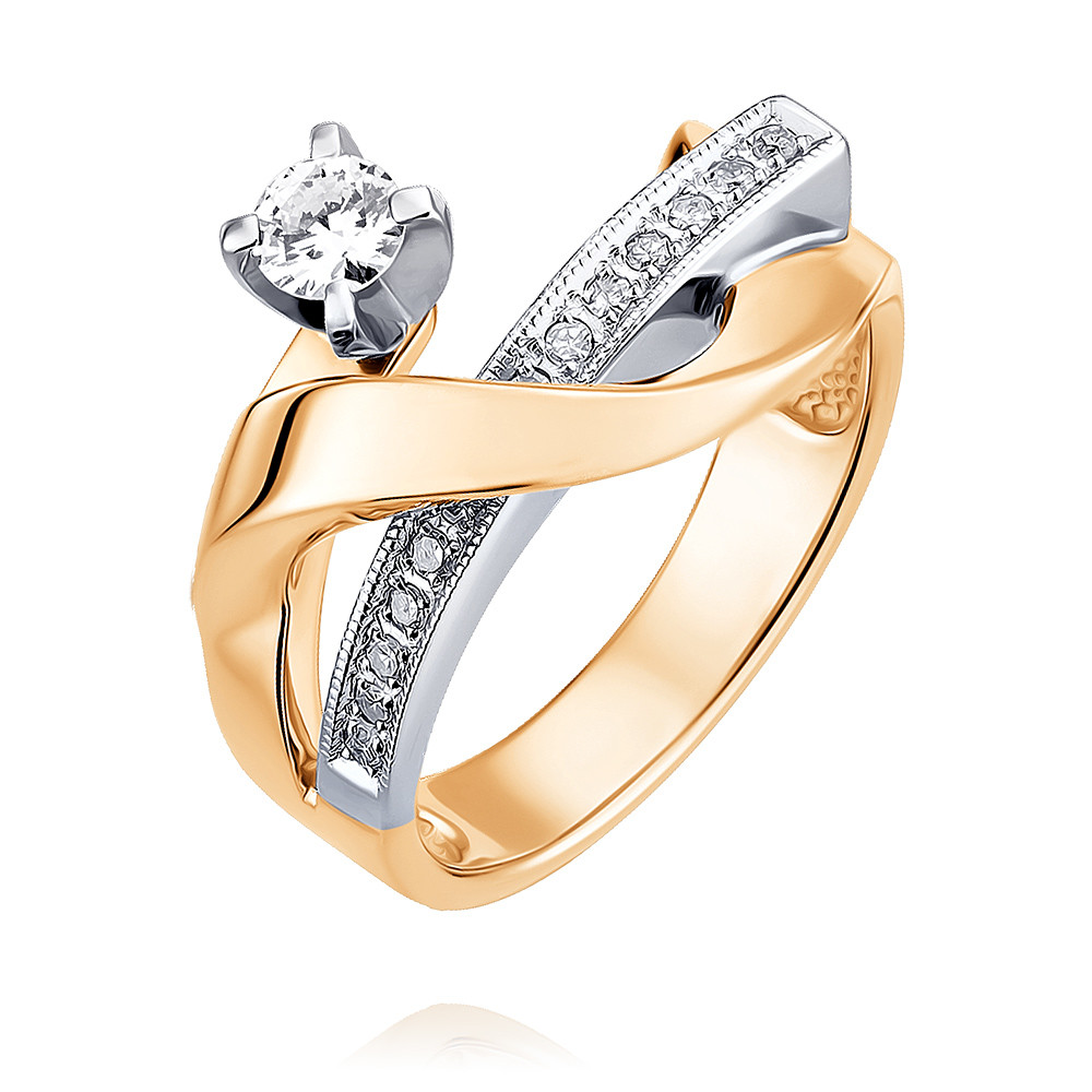 Купить со скидкой Кольцо из красного золота 585 пробы с бриллиантом
