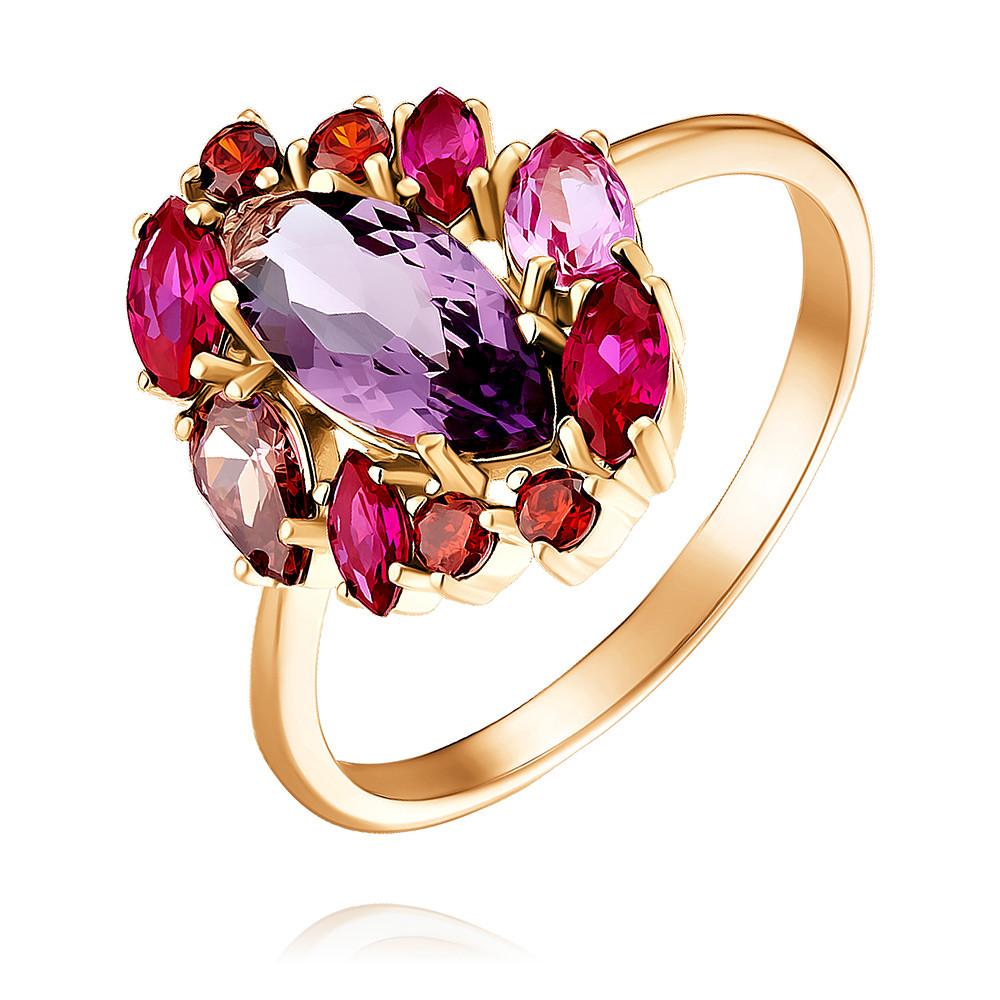Купить Кольцо из красного золота 585 пробы с миксом вставок, Другие, Красный, Для женщин, 1452020/01-А50Д-670