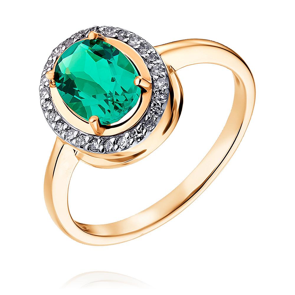 Купить Кольцо из красного золота 585 пробы с бриллиантом, изумрудом, Другие, Красный, Для женщин, 1452065/01-А50Д-437