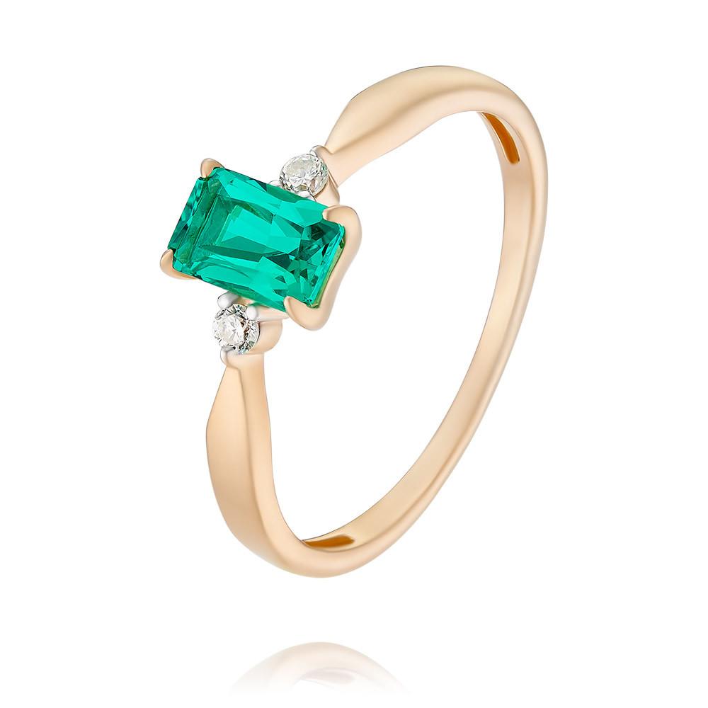 Купить Кольцо из красного золота 585 пробы с бриллиантом, изумрудом, Другие, Красный, Для женщин, 1452066/01-А50Д-437