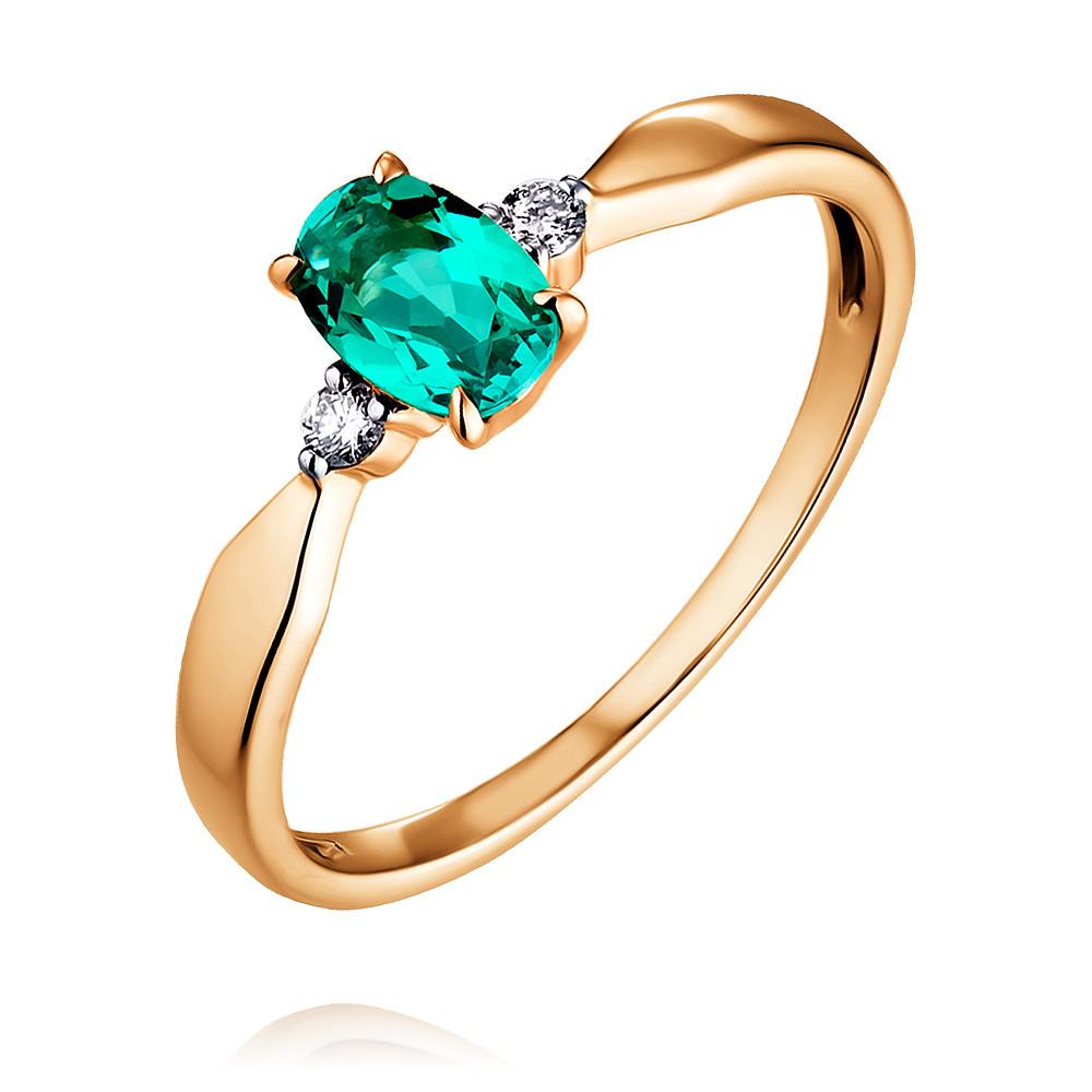 Купить Кольцо из красного золота 585 пробы с бриллиантом, изумрудом, Другие, Красный, Для женщин, 1452067/01-А50Д-437
