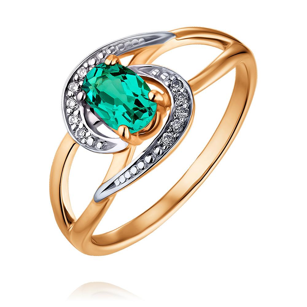 Купить Кольцо из красного золота 585 пробы с бриллиантом, изумрудом, Другие, Красный, Для женщин, 1452069/01-А50Д-437