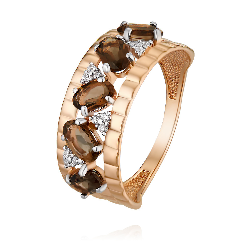 Купить Кольцо из красного золота 585 пробы с кварцем, Другие, Красный, Для женщин, 1452254/01-А50Д-726