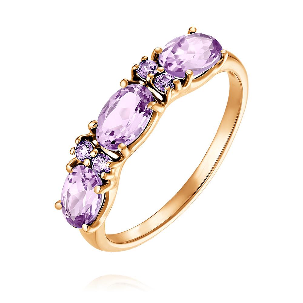 Купить Кольцо из красного золота 585 пробы с аметистом, SOKOLOV, Красный, Для женщин, 1452723/01-А50-653