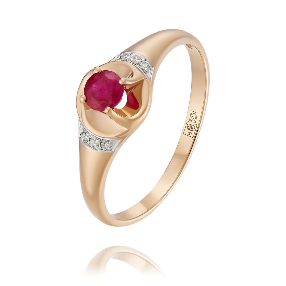 Купить Кольцо из красного золота 585 пробы с бриллиантом, рубином, Другие, Красный, Для женщин, 1452757/01-А50Д-431