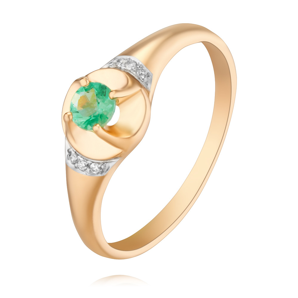 Купить Кольцо из красного золота 585 пробы с бриллиантом, изумрудом, Другие, Красный, Для женщин, 1452757/01-А50Д-433
