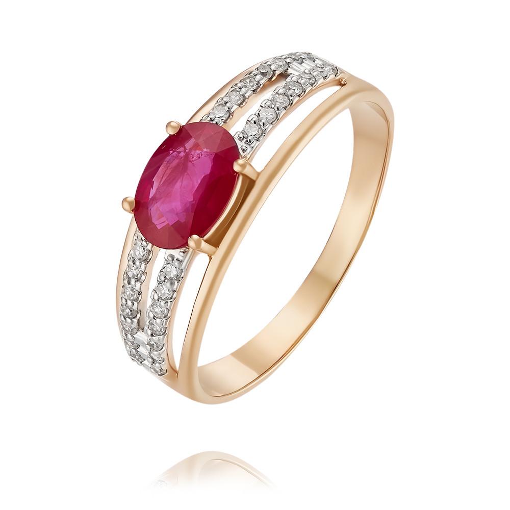 Купить Кольцо из красного золота 585 пробы с бриллиантом, рубином, Другие, Красный, Для женщин, 1452762/01-А50Д-431