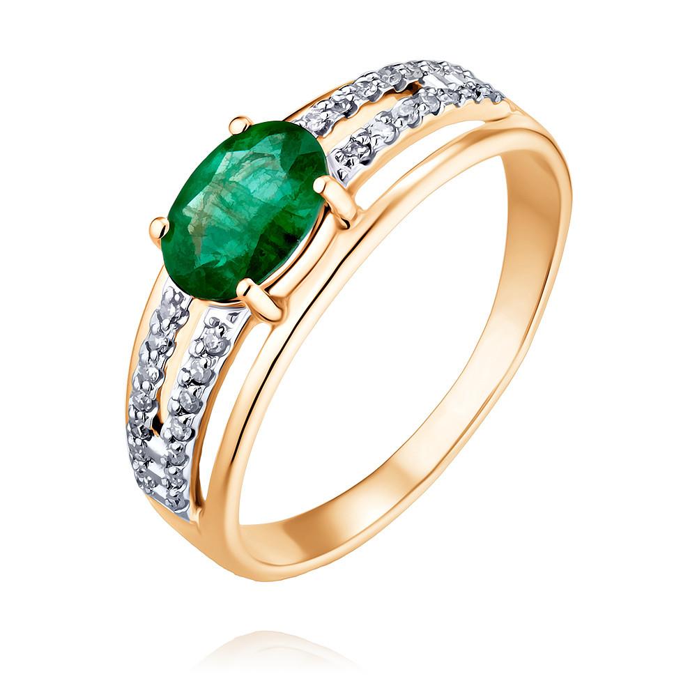 Купить Кольцо из красного золота 585 пробы с бриллиантом, изумрудом, Другие, Красный, Для женщин, 1452762/01-А50Д-433