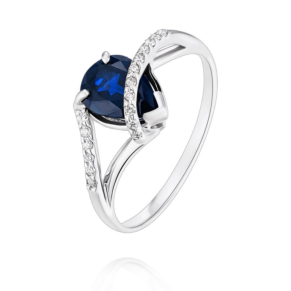 Купить Кольцо из белого золота 585 пробы с бриллиантом, сапфиром, Другие, Белый, Для женщин, 1453153/01-А511Д-432