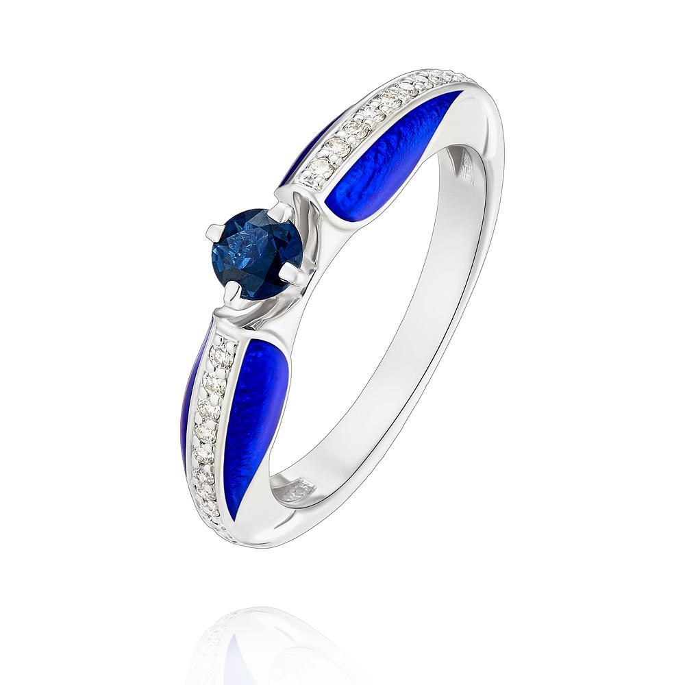 Купить Кольцо из белого золота 585 пробы с бриллиантом, сапфиром, Другие, Белый, Для женщин, 1453289/01-А511Д-432