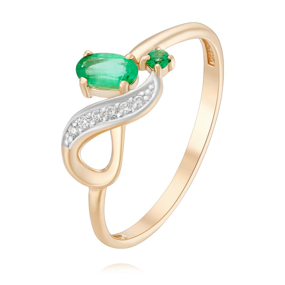 Купить Кольцо из красного золота 585 пробы с бриллиантом, изумрудом, Другие, Красный, Для женщин, 1453378/01-А50Д-433