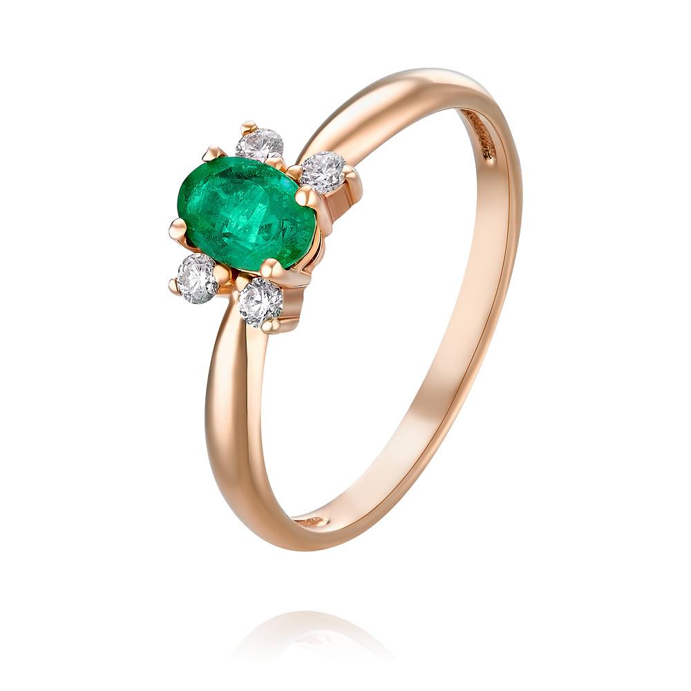 Купить Кольцо из красного золота 585 пробы с бриллиантом, изумрудом, Другие, Красный, Для женщин, 1453470/01-А50-433
