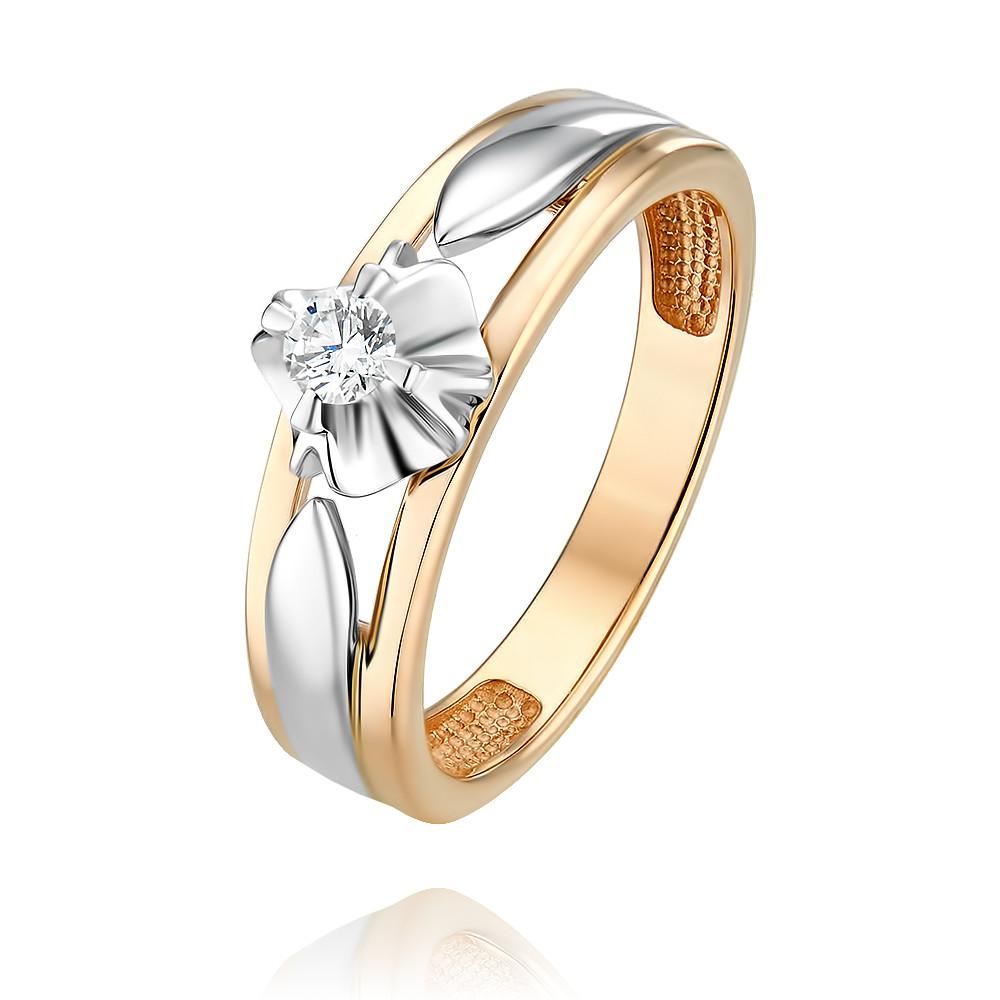 Купить Кольцо из красного золота 585 пробы с бриллиантом, Другие, Красный, Для женщин, 1453623/02-А501Д-41